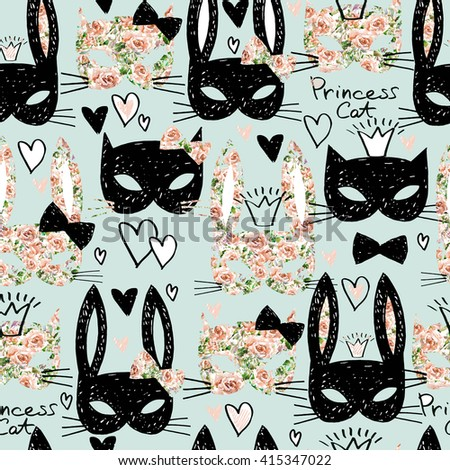 Cats seamless pattern. Cute Cats. Cute Bunny. Cats. Seamless pattern with cute cats and bunny.  Cute cat wrapping paper. hand drawn cats seamless pattern.  - stock photo