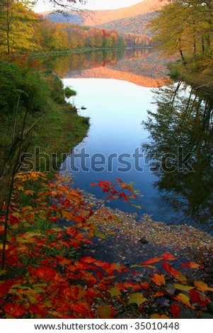Catskills Autumn Paradise - Delaware County, NY - stock photo