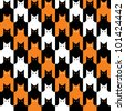 CatsTooth Pattern in Halloween colors repeats seamlessly. - stock photo