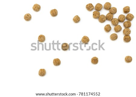 cattering of rye baked balls on a white background