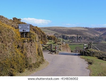 Cattle Grid near the Rural Village of Malmsmead within Exmoor National Park on the Border of Devon and Somerset, England, UK - stock photo
