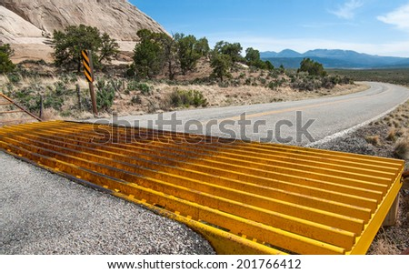 Cattle Guard:  A metal grill set into the pavement on a country road allows cars to cross but prevents cattle from leaving an open range area.  - stock photo