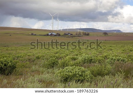 Cattle Ranch Farmland and Wind Farm with Wind Turbines in Washington State - stock photo