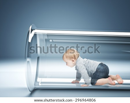 caucasian baby in test tube 3d - stock photo