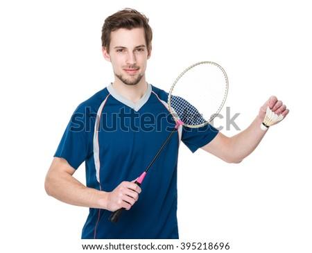 Caucasian Badminton player ready to play - stock photo