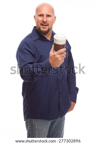 Caucasian bald man with beard and coffee on white background. - stock photo