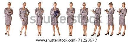 Caucasian blond businesswoman in suit on white isolated background  different poses