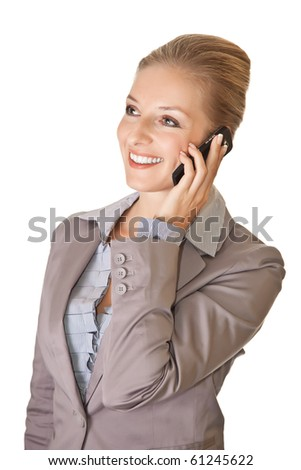 Caucasian blond businesswoman in suit with cell phone on white isolated background - stock photo