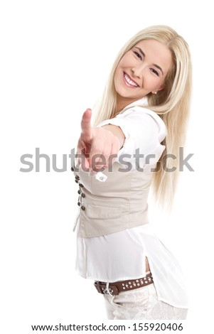Caucasian blond women smiling and pointing with finger