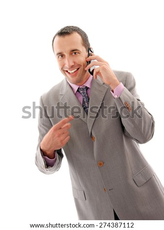 Caucasian business man with cellphone isolated on white.Studio shot. - stock photo