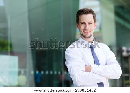 Caucasian businessman at outdoor - stock photo