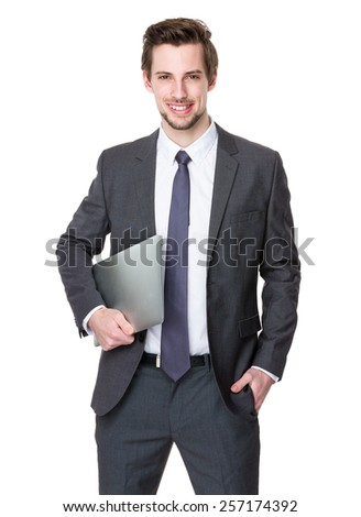 Caucasian businessman hold with laptop