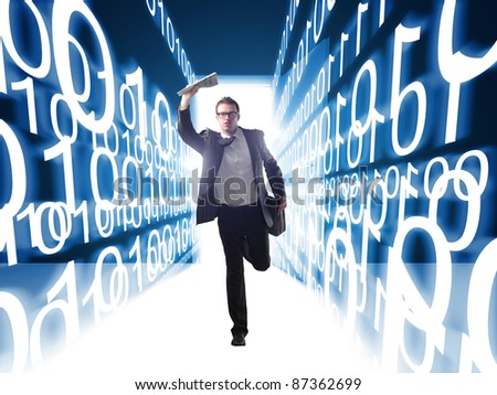 caucasian businessman running and 3d binary code background