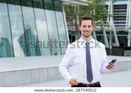 Caucasian businessman use of cellphone