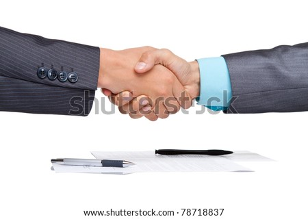 caucasian businessmen handshake after sign contract, isolated on white and business background, with clipboard, documents and empty copy space. Communication, greeting, agree, congratulation concept. - stock photo