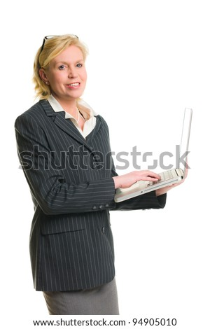 Caucasian businesswoman demonstrate something with laptop, white isolated background. - stock photo