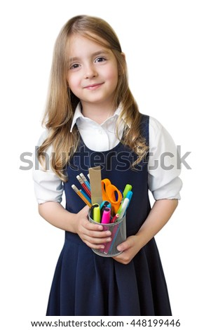 Caucasian child girl with school supplies stationary isolated on white background. - stock photo