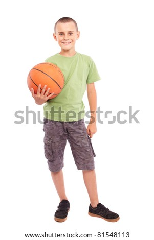 Caucasian child with basketball, isolated on white background - stock photo