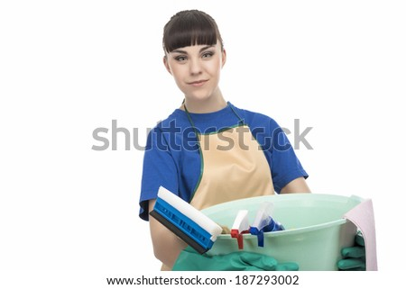 Caucasian Cleaner Maid Woman With Cleaning Gear. isolated Over White Background. Horizontal Image - stock photo