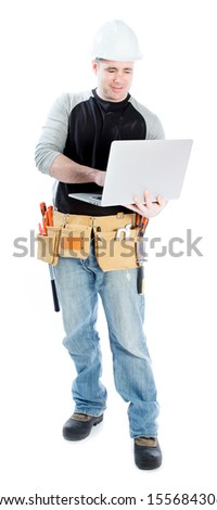 Caucasian contractor male 40 years old shot in studio isolated on white background - stock photo