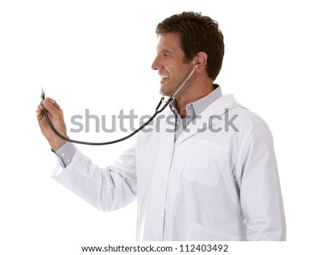 caucasian doctor is listening using stethoscope on white background - stock photo