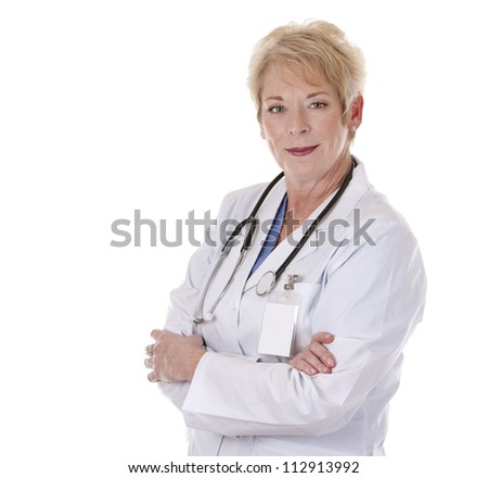 caucasian doctor is smiling on white isolated background - stock photo
