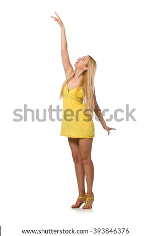 Caucasian fair model in yellow summer dress isolated on white - stock photo