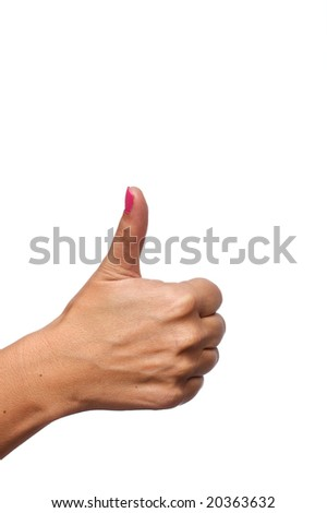 Caucasian female giving a thumbs up isolated on a white background in portrait format.