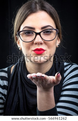 Caucasian girl with eyeglasses
