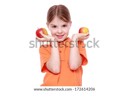 caucasian girl with red apple on white background/Cute little girl with apples - stock photo
