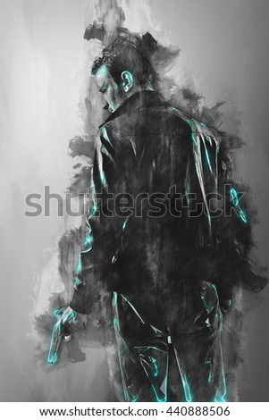Caucasian guy in leather jacket holding a gun. Detective, undercover police officer, private eye, gangster, undercover agent. Effect like drawing with futuristic blue glow. - stock photo