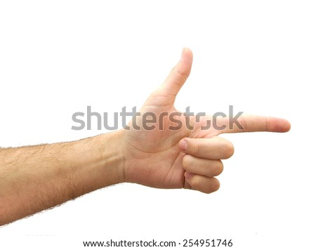 Caucasian hand making a shooting gesture isolated over white background - stock photo