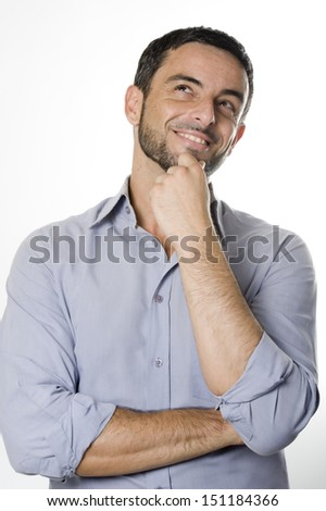 Caucasian Happy Young Man with Beard Thinking Doubting and Considering a Decision Isolated in White Background - stock photo