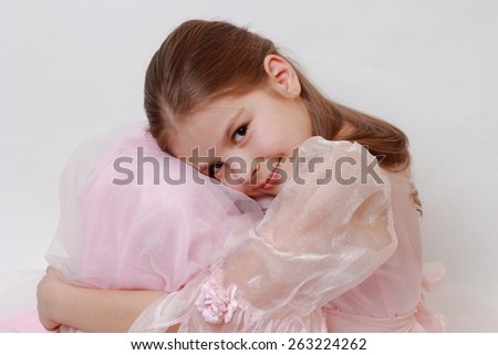 Caucasian little girl wearing pink dress as a princess - stock photo
