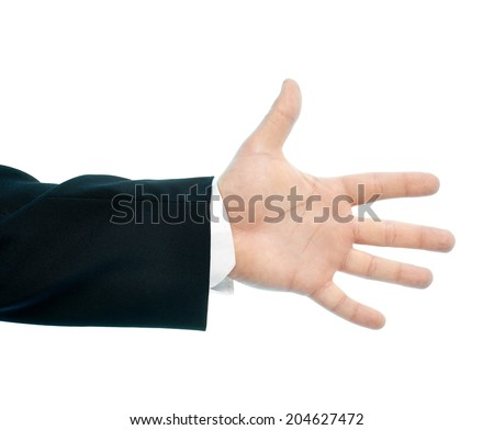 Caucasian male hand gesture of an opened palm showing five fingers, high-key light composition isolated over the white background - stock photo