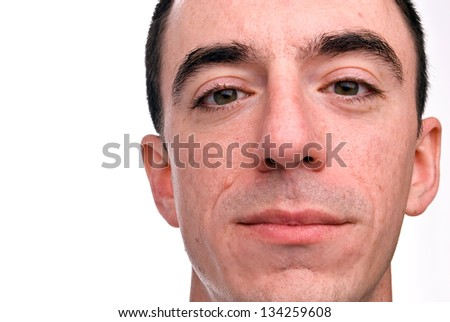 Caucasian Male Headshot - Extreme Closeup from Chin to Forehead
