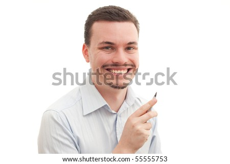 Caucasian male holding a fountain pen on a white background - stock photo