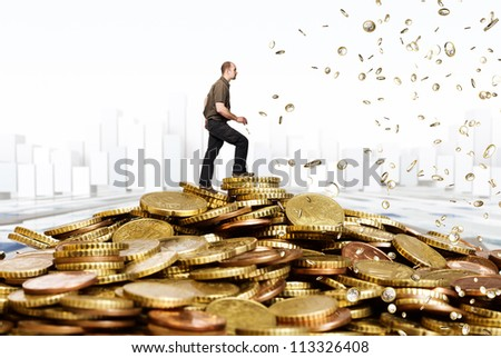caucasian man and euro coin background