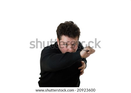 Caucasian man attack with knife. Isolated on white.