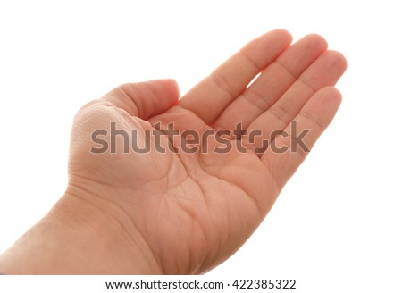 Caucasian man hand open and ready to help or receive - stock photo