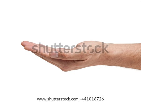 Caucasian man hand open and ready to help or receive. Gesture isolated on white background - stock photo