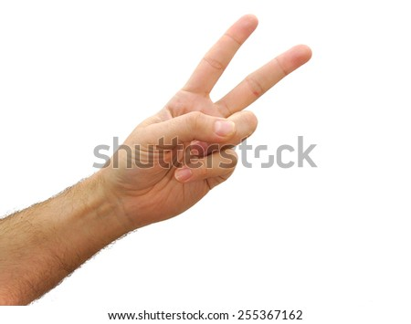 Caucasian man hand showing two fingers isolated on white background - stock photo