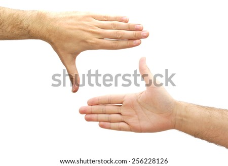Caucasian man hands creating a frame isolated on white background - stock photo