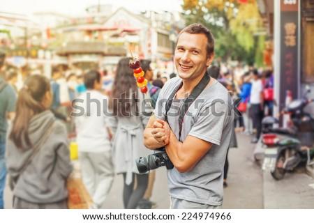caucasian man in china - stock photo