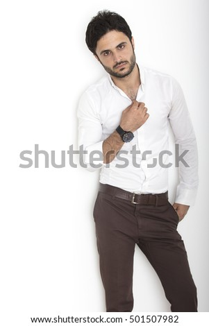 Caucasian man isolated on white background inside studio