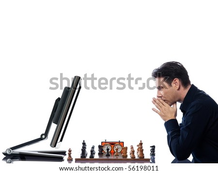 caucasian man playing chess with computer mindful concept on isolated white background - stock photo