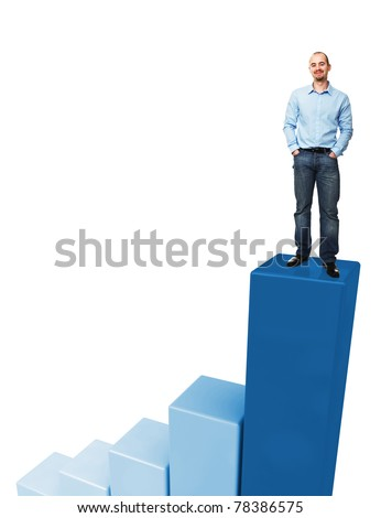 caucasian man standing on 3d graph - stock photo