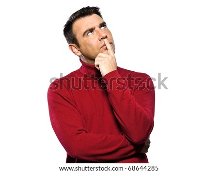caucasian man thinking pensive looking up studio portrait on isolated white background - stock photo