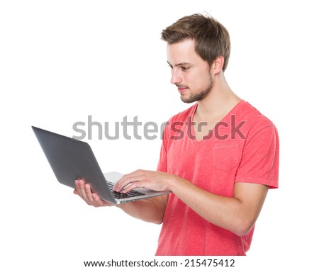 Caucasian man use of laptop computer