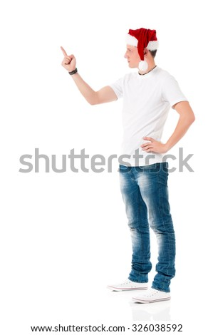 Caucasian man wearing christmas hat for santa isolated on white background  - stock photo